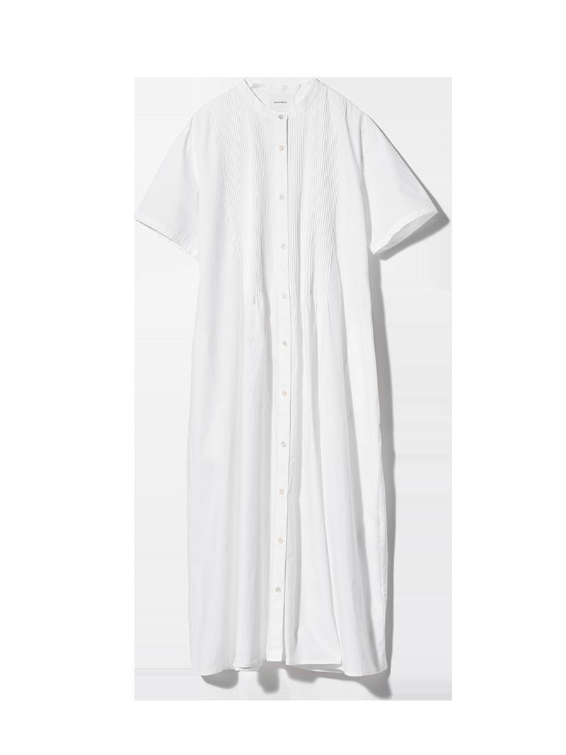 ハーフスリーブピンタックシャツワンピース ホワイト