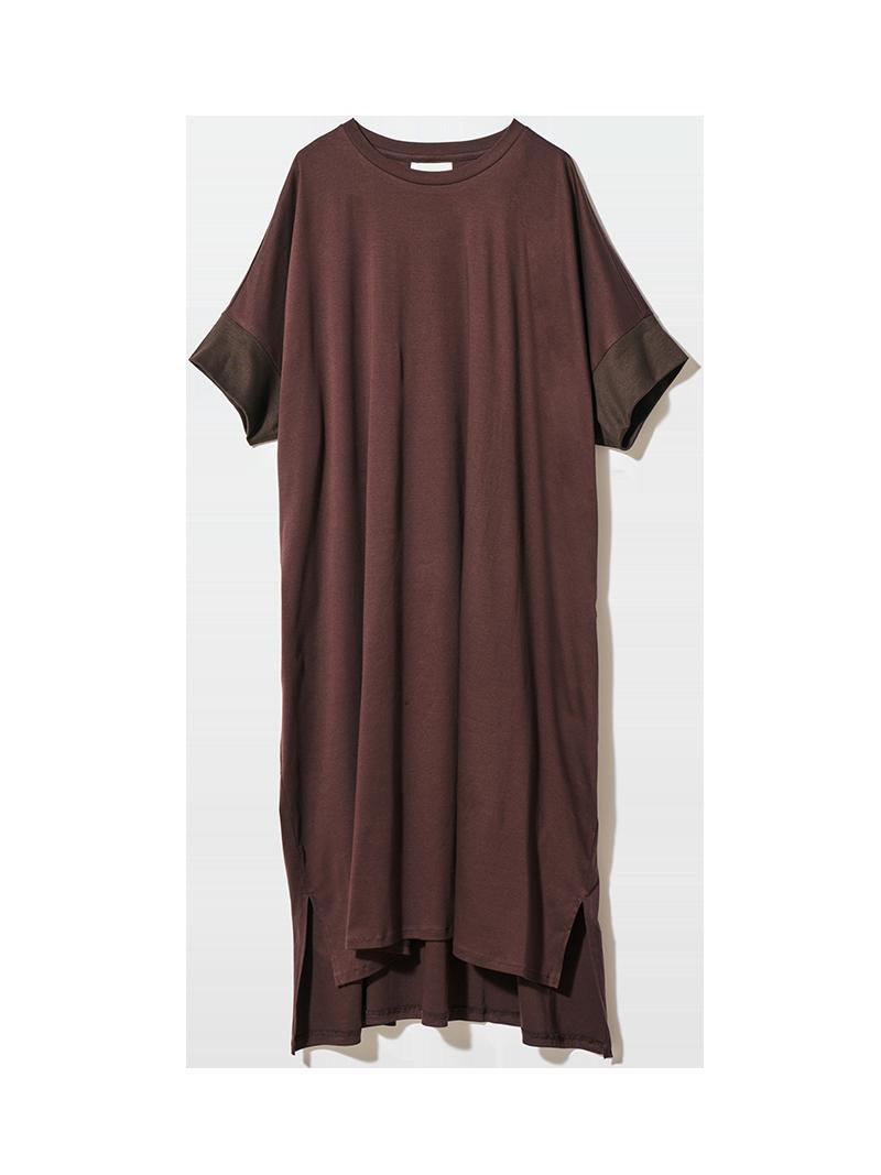 リブスリーブワイドTシャツ ブラウン